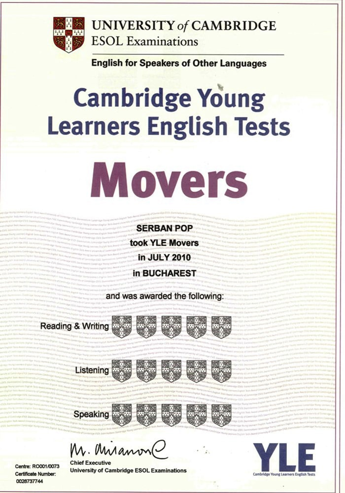Chứng chỉ Cambridge english movers