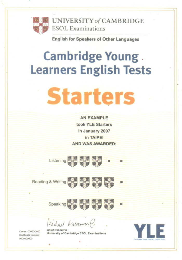 Chứng chỉ Cambridge English Starter