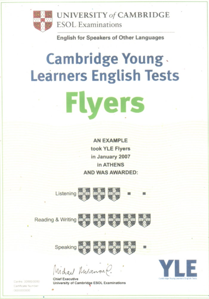 chứng chỉ Cambridge English Flyers